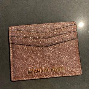 Michael Kors Card Holder Rose Gold Glitter